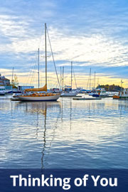 Thinking of you. Harbor scene with sailboats peacefully moored.